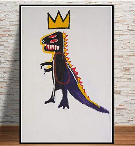 DAQIANSHIJIE Monde célèbre Graffiti oeuvre Basquiat arbeitet Poster und Drucke Ölgemälde Wohnzimmer Gang Studie Hotel Bar Dekoration Malerei 42X60cm Ohne Rahmen