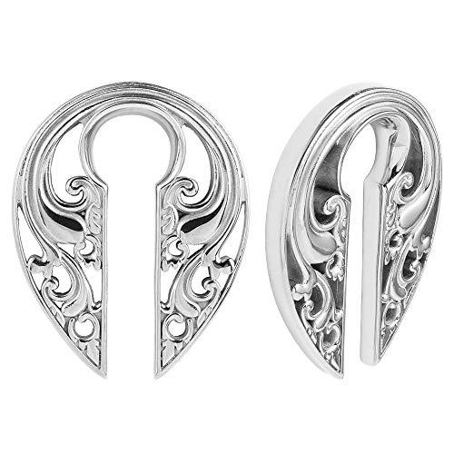 "LADEMAYH Ear Hanger Weights Heavy for Stretched Ears Gauges - Engraved Vintage Flowers Design 5/8""(16mm) or Larger Stainless Steel Ear Hanger Gauges Stretching Kit Silver"