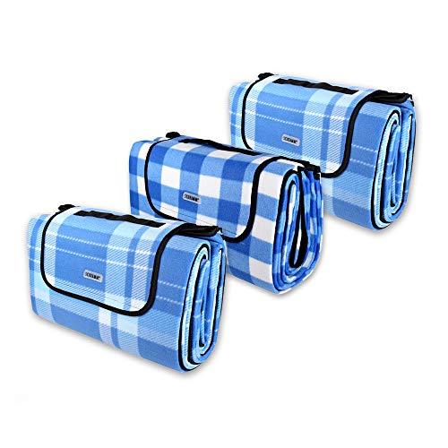 Schramm® 3 Stück Picknickdecken 2 m x 2 m Fleece Decke faltbar mit Tragegriff Stranddecke Outdoordecke wasserfest und wärmeisolierend