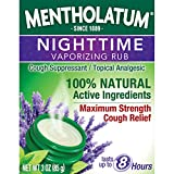 Mentholatum Nighttime Vaporizing Rub with Soothing Lavender Essence, 3 oz. - 100% Natural Active Ingredients for Maximum Strength Cough Relief
