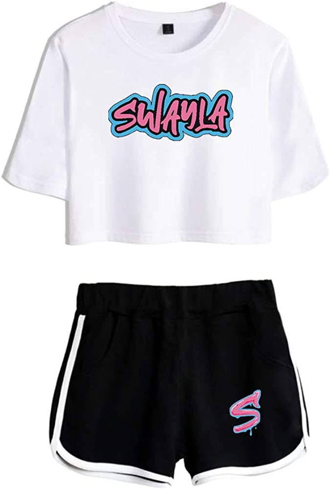 WAWNI Sway House Merch Women Crop Tops Two Piece Set Shorts+Lovely T-Shirt Summer Harajuku Streetwear Girl Sets