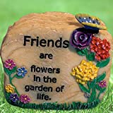 BANBERRY DESIGNS Garden Decor Message Rock - Potted Plant Decor -Desk Paper Weight - Friends are Flowers in The Garden of Life - 2.5'H - Friends Gift for Her