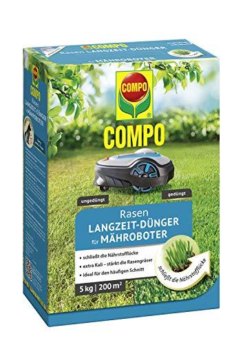 COMPO ROBO-RASEN Langzeit-Dünger für Mähroboter, 3 Monate Langzeitwirkung, Feingranulat, 5 kg, 200 m²