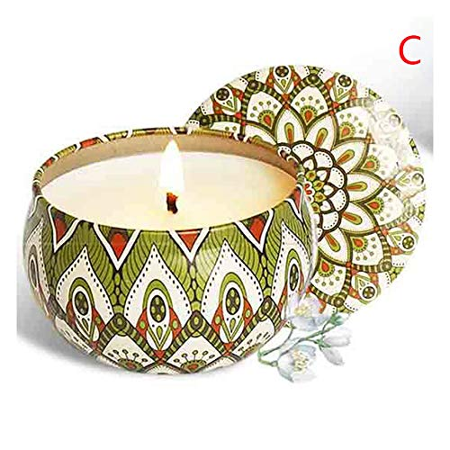 BTEX Smokeless Natural Soy Wax Aromatherapy Candles Tinplate Scented Candles Gift Home Decor Home Decoration 1Pcs-Jasmine-