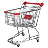 Invero Mini Shopping Trolley Cart with Flip-Out Child Seat and Rolling Wheels Ideal for Office, Kitchen or General Home use - Red