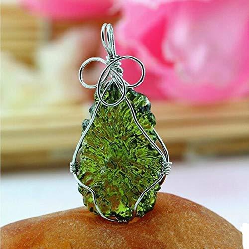 HuXwei A ++ natürlichen Aerolites Falling Stone grüner Kristall Moldavit Anhänger apotropaische Energie 7g-8g / Lot + Free Seil Halskette