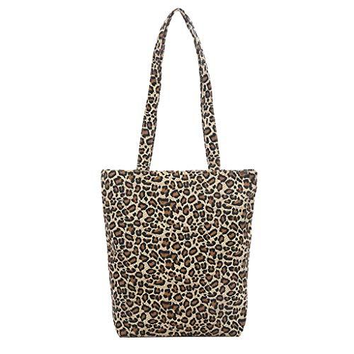Linkay Neuer HeißEr Verkauf Mode Wild Damen Canvas Messenger Tasche Handtasche Leopard Drucken UmhäNgetasche Rucksack-Khaki