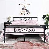 EGOONM Cadre de lit en métal - 4ft 6 Cadre de lit en métal avec Les Nuages Motif, avec Grand Espace de Rangement et pour Adultes,Noir (145 X 195)