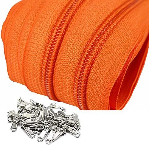 Cremallera continua por metros de nylon #5 color naranja, 10 metros + 30 cursores de niquel, 30 mm de ancho, costuras, manualidades, cojines, tapicería