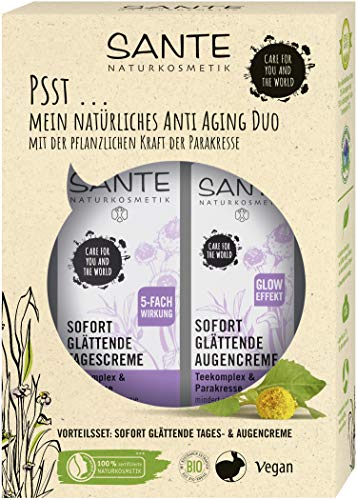 SANTE Naturkosmetik Geschenkset Sofort glättende Augencreme (15ml) & Sofort glättende Tagescreme (30ml), mit Teekomplex & Parakresse (Spilanthol), Vegan
