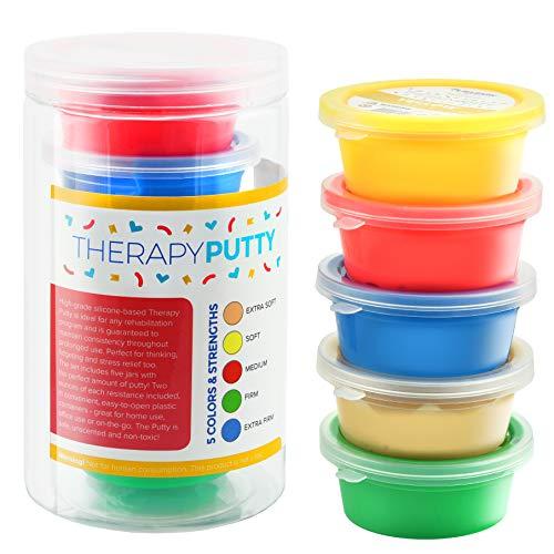 Playlearn Therapie-Knetmasse, flexibel, ungiftig, 5Stärken verfügbar: Extraweich/weich/weich-mittel/mittel/fest, verschiedene Farben, für Erwachsene & Kinder, 57g