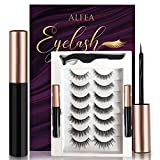 Magnetic Eyelashes with Eyeliner, 7 Pairs Reusable 3D False Eyelashes, Waterproof Magnetic Liquid Eyeliner, Natural Look Magnetic Lashes Kit for Makeup Eyelashes Extension