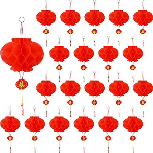 20 Linternas de Papel Rojo Chino 7,9 Pulgadas Linterna China Colgante Decorativa Decoraciones Colgantes de Festival de los Faroles Decoraciones Pequeñas de Farolillos Chinos para Año Nuevo