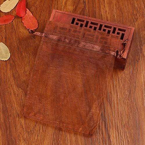 BGH Verpackungstaschen 7x9cm 100pcs / Lot Pink Drawstring Organza Taschen für Candy Ring Ohrring Halskette Schmuck Perlen Pack, Kaffee, 7x9cm