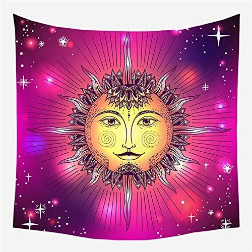 KHKJ Tapices de Pared Europeos Vintage, Tapiz de brujería, Sol, Luna, Estrella, Dormitorio, cabecera, Alfombra, Alfombra, Manta de astrología A15, 130x150cm