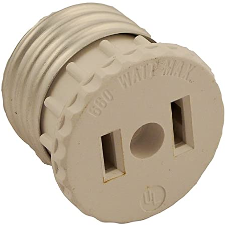Leviton 125 15 Amp, 660 Watt, 125 Volt, 2-Pole, 2-Wire, Socket to Outlet Adapter, 1 Pack, White
