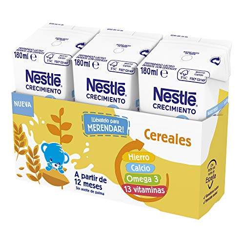 Nestlé Junior Junior Crecimiento 1 + Cereales A Partir De 1 Año 4500 g - Pack de 24 bricks de 180 ml