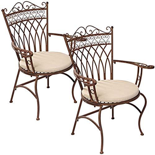 Pureday Gartenstuhl Versailles - 2er Set - Eisenstühle im Nostalgie Look