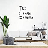 Te Amo Or Quila Drinking Wall Sticker,Quote Saying Words Wall Decal Saying Family Room,Wall Art Decor for Boys Room Kids Bedroom Living Room