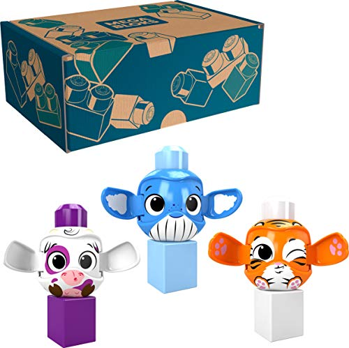 Mega Bloks Peek A Blocks Toys 3-Pack Value Bundle – Tiger, Whale, Cow – with 3 Building Blocks and 3 peek a Boo Rolling Animals, Ages 1+