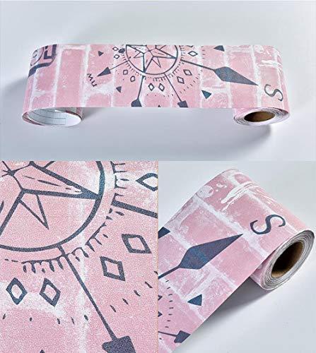 Papel pintado impermeable, color rosa claro, autoadhesivo, extraíble, para cocina, baño, salón, azulejos, 10 x 1000 cm