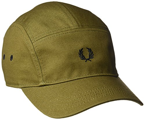 Fred Perry Men's Cotton Twill 5 Panelled Baseball Cap, Military Green, One Size