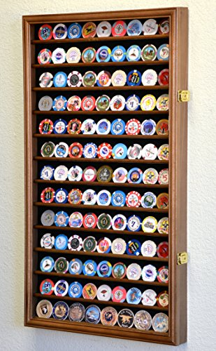 Large Casino Coin Chips Display Case Cabinet Holder 98% UV Locks Holds 117 Coins, Walnut