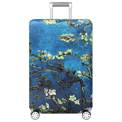 TRAVELKIN Thickened Luggage Cover 18/24/28/32 Inch Suitcase Spandex Protective Cover (L(25'-28'luggage), Almond Blossom)