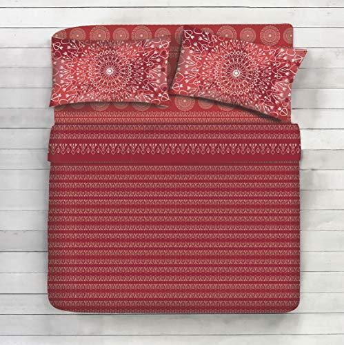 Completo Lenzuola 100% Cotone - Disegno Mandala, Geometrico, Cuori, frecce, Boho Colore, Forme (Rosso, Matrimoniale)