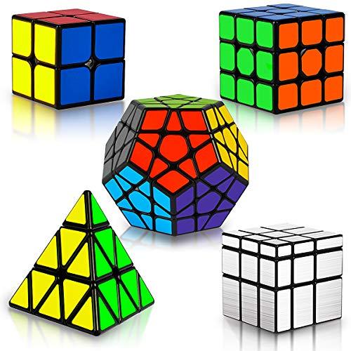Coolzon Cubo Magico Set, 5 Pack Speed Cube Set 2x2x2 3x3x3 Megaminx Pyraminx Mirror Magic Cube 3D Puzzle Jigsaw Juguetes Educativos Regalos para Niños y Adultos
