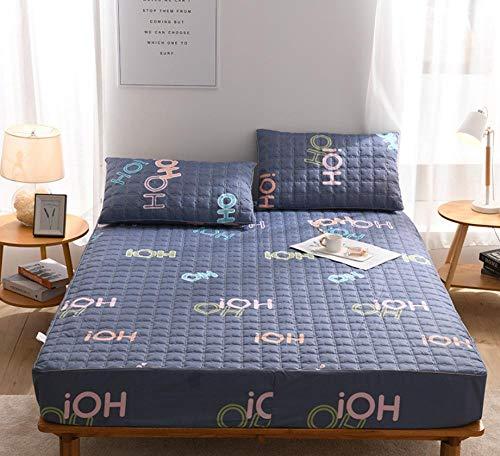 XLMHZP Lujosas sábanas Acolchadas de algodón, sábanas Estampadas Queen-fit, Protector de colchón King Antideslizante para niños y niñas-J_135x200cm + 30cm