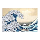 Poster Katsushika Hokusai-The Great Wave Off Kanagawa-Cat Canvas Poster Wall Art Decor Print Picture Paintings for Living Room Bedroom Decoration DONGDA Poster Unframe:16×24inch(40×60cm)