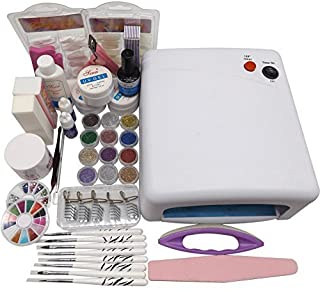 Warm Girl 36 W rosa lámpara secador UV gel 12 piezas acrílico purpurina polvo uñas arte set herramienta manicura decoración francés consejos salón kit