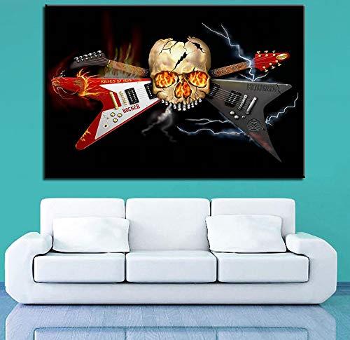 (Geen frame) 60x80CM Wall Art Canvas Schilderij HD Prints Woondecoratie 1 Stuks Muziekinstrumenten Gitaar Modulaire Viool Afbeeldingen Kunstwerk Poster