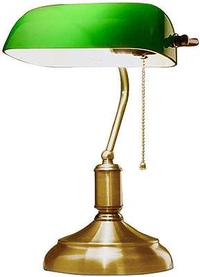 Lámpara de mesa clásica para banqueros con pantalla de vidrio verde y base de latón Escritorio antiguo tradicional Lámpara de lectura Estudio Oficina Iluminación retro tradicional Lámpara de: Amazon.es: Iluminación