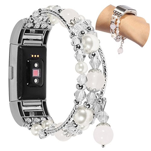 Für Fitbit Charge 2 Armband Damen, Wafly Elegant Perlen Bracelet Elastische Perle Ersatzarmband Uhrenarmband Armbänder für Fitbit Charge2 für Hochzeit, Party, 5,5\'\'-6,9\'\'(Weiß)