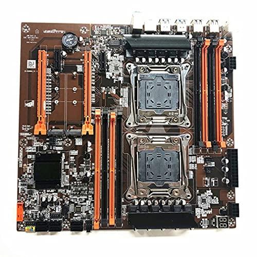 RHNE Placa Base de CPU Dual X99 LGA 2011 V3 E-ATX USB3.0 SATA3 con procesador Dual con Ranura M.2 Dual 8 DIMM DDR4 4 Ranuras PCIE Negro 290 * 280 mm