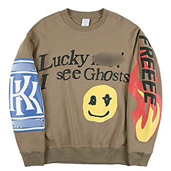 THE SCOTTS Men Crewneck Sweatshirt Kanye Lucky Me I See Ghosts Sweatshirt Graphic Hip Hop Sweatshirt Hoodie Khaki