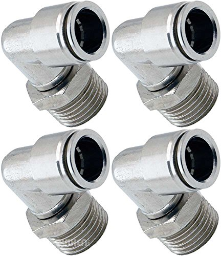 Vixen Air 1/2' NPT Male to Push to Connect (PTC) for 1/2' OD Hose Swivel Elbow - Bundle of Four Fittings VXA2121-4
