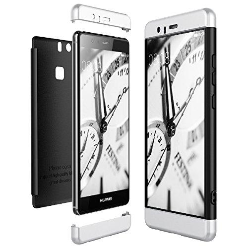 CE-Link Cover per Huawei P9 360 Gradi Full Body Protezione, Custodia Huawei P9 Silicone Rigida Snap On Struttura 3 in 1 Antishock e Antiurto, Huawei P9 Case Antigraffio Molto Elegante - Argento + Nero
