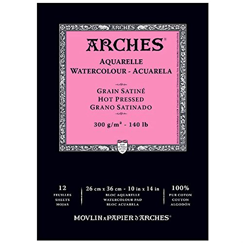 Arches 400014958 Watercolor Pad, Hot Press, 10' x 14'