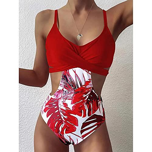 Bikinis Bañador Mujer Traje De Baño De Una Pieza con Retazos Florales para Mujer, Nuevo Traje De Baño Cruzado Sexi para Mujer, Trajes De Baño Push Up para La Playa, Traje De Baño-Rot_L