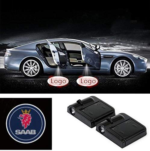 2Pcs Wireless Universal Car Projection LED Projector Door Shadow Light Welcome Light Laser Emblem Logo Lamps Kit No Drilling Required for SAAB