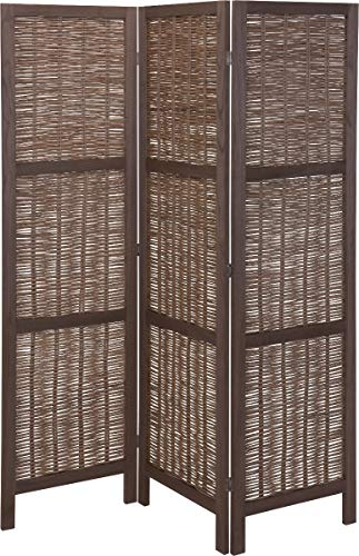 Home&Styling Holz Paravent 3-TLG. Raumteiler Trennwand Umkleide Sichtschutz Spanische Wand Raumtrenner Stellwand Weide Dunkelbraun 132x2x170 cm Verstellbar