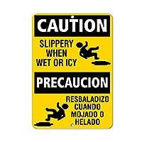185新しいブリキの看板注意濡れたときやICYの危険性が滑りやすいアルミニウム金属道路標識壁の装飾8x12インチ