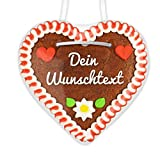 Individuelles Lebkuchenherz mit eigenem Text beschriftet - rot-weiß - ca. 12x12cm - frisch gebacken und per Hand verziert, so verschenken Sie ein personalisiertes Herzl an Freunde & Bekannte