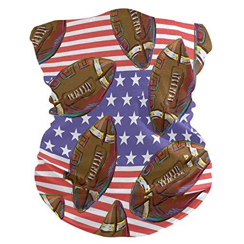 FELIZM Gesichtsschal USA Flagge American Football Bandana Sturmhaube Kopfband Multifunktional Frauen Herren Kopfbedeckung Kopftuch für Staub UV Wind Outdoor Sport