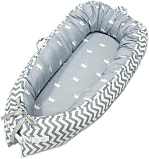 Newborn Lounger, KOBWA Portable Soft Breathable Baby Snuggle Nest, Removable Cover Baby Bionic Bed for Infants Toddlers - 100% Cotton Crib Mattress for Bedroom Travel