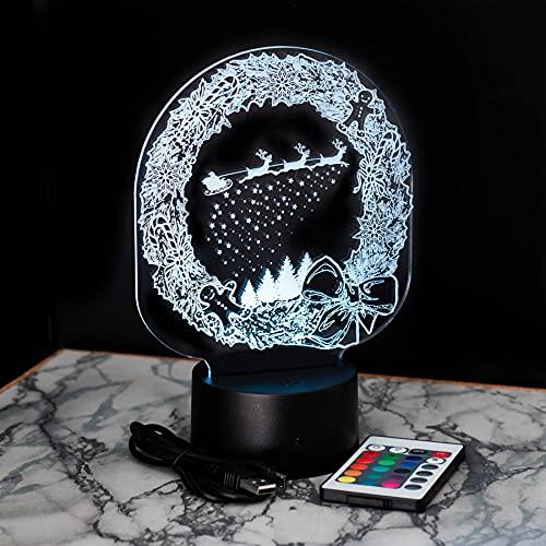 Luce Notturna di Natale, Lampada Decorativa Modifica 16 Colori, LED - Piastra Singola (Design 2)
