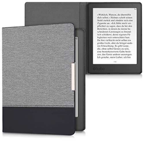 kwmobile Case Compatible with Kobo Aura H2O Edition 2 - PU Leather and Canvas e-Reader Cover - Dark Grey/Black